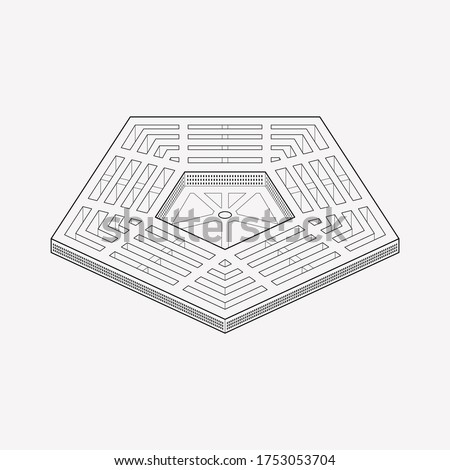 Pentagon icon line element. Vector illustration of pentagon icon line isolated on clean background for your web mobile app logo design. ストックフォト ©