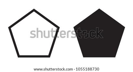 Pentagon icon of vector geometry pentagonal five-sided polygon pentagon line ストックフォト ©