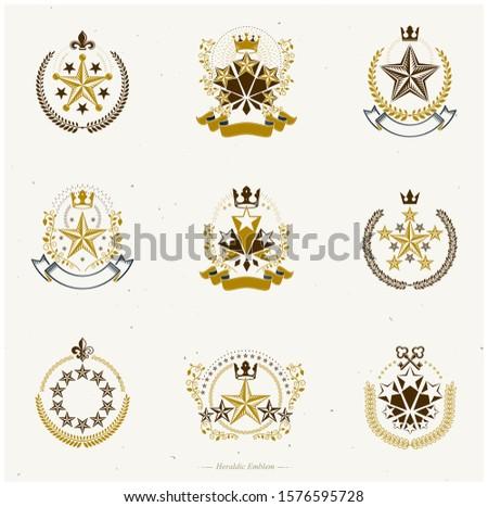 Pentagonal Stars emblems set. Heraldic Coat of Arms, vintage vector logos collection.