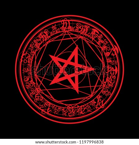 Pentagram blood red runic spell circle. Satanic sign, Magic casting ring. Pentalpha, Pentangle Vector illustration on white background.