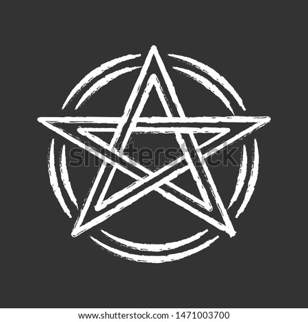 Pentagram chalk icon. Occult ritual pentacle. Devil star. Satanic cult, wiccan and pagan symbol. Witchcraft, esoteric and diabolic sign. Mystic heptagram. Isolated vector chalkboard illustration