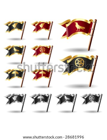 Pentagram, crow, and raven icons on vector flag button set - red and gold, black and silver, and black and gold heralds