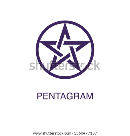 Pentagram element in flat simple style on white background. Pentagram icon, with text name concept template