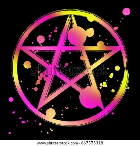Pentagram Icon Vibrant Colorful Brush Drawing Magic Occult Star