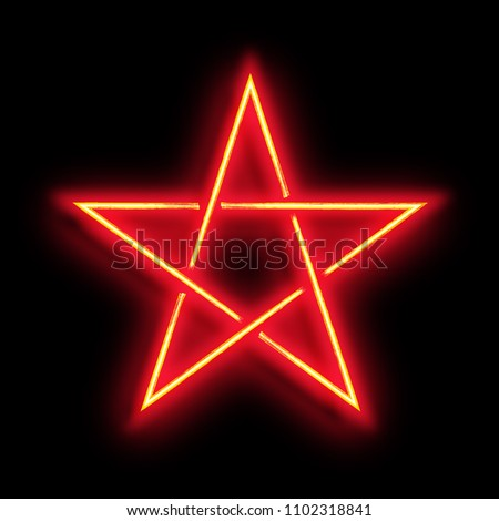 Pentagram. Neon sign of pentagram in grunge style on black background. Vector illustration.