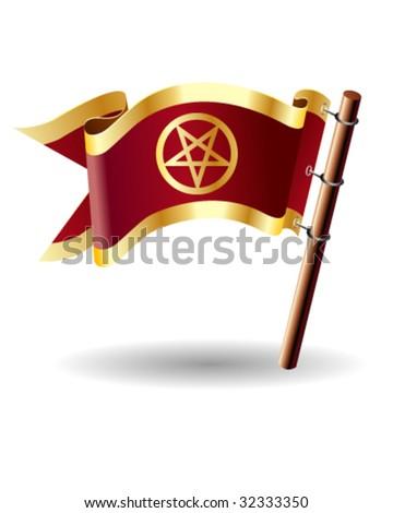 Pentagram pagan spiritual on vector royal flag button suitable for print, web, or promotional use