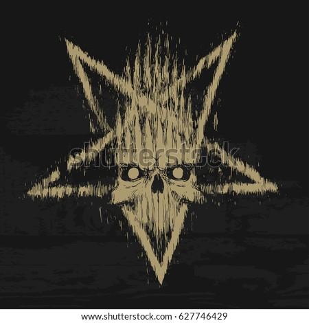 pentagram skull grunge rock