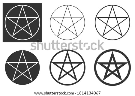Pentagram vector icon in different variants. Isolated vector illustrations isolated on a white background and a variant of a white illustration on a dark background. EPS illustration.