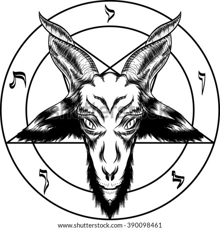 pentagram with baphomet binary