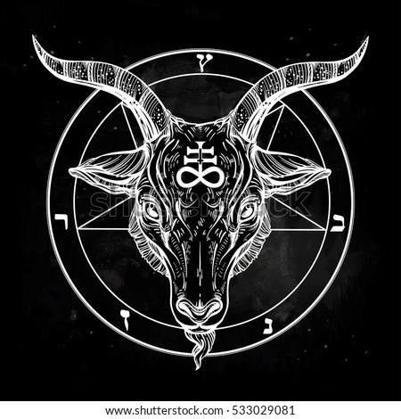 pentagram with demon baphomet