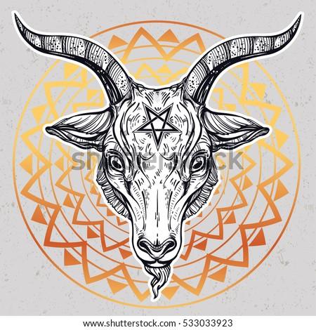 pentagram with demon baphomet