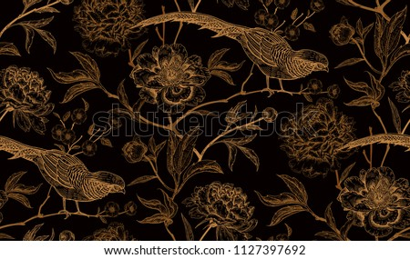 peonies and pheasants floral
