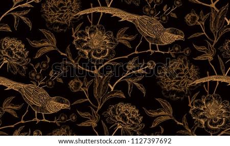 peonies and pheasants floral