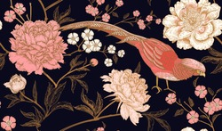 Peonies and pheasants. Floral vintage seamless pattern with flowers and birds. Black, pink and gold color. Oriental style. Vector illustration art. For design textiles, wrapping paper, wallpaper.