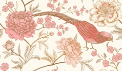 Peonies and pheasants. Floral vintage seamless pattern with flowers and birds. White, pink and gold color. Oriental style. Vector illustration art. For design textiles, wrapping paper, wallpaper.