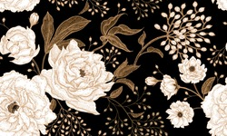 Peonies and roses. Floral vintage seamless pattern. Gold and white flowers, leaves, branches and berries on black background. Oriental style. Vector illustration art. For design textiles, paper.