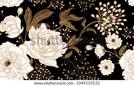 Black and white floral background vector download free vector art peonies and roses floral vintage seamless pattern gold and white flowers leaves mightylinksfo
