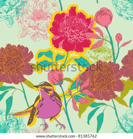 Peonies  flowers and bird