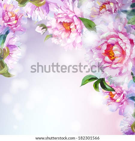 Peonies flowers background Spring flowers invitation template card