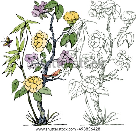 peonies in chinoiserie style