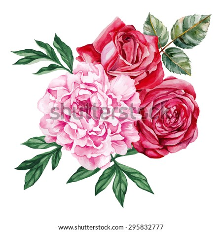 peony and red roses bouquet