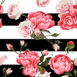 Peony And Roses Vector Seamless Pattern #1 Black and White Stripes Flowered Texture Background