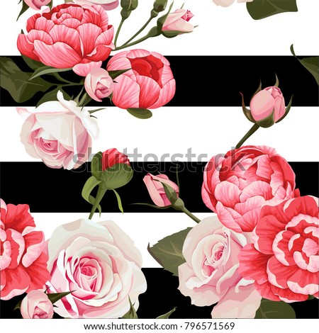 Peony And Roses Vector Seamless Pattern #2 Black and White Stripes Flowered Texture Background