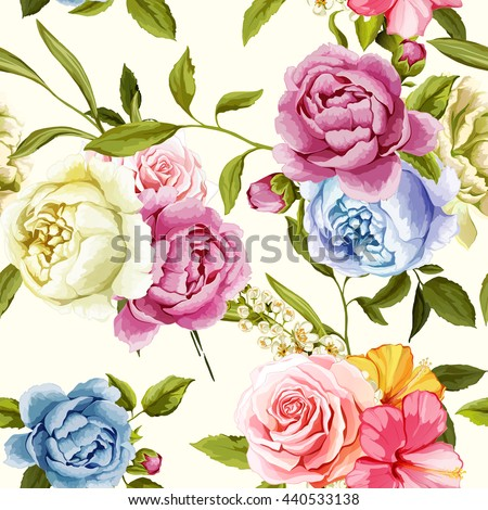 peony and roses with leaves