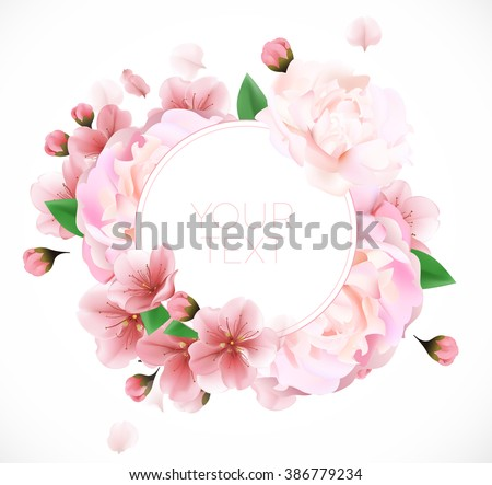 peony background with a round