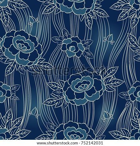 peony japanese pattern seamless
