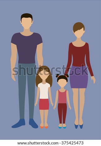 People. A family.The family, consisting of father, mother and two young daughters. #375425473