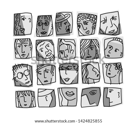 people abstract faces avatars
