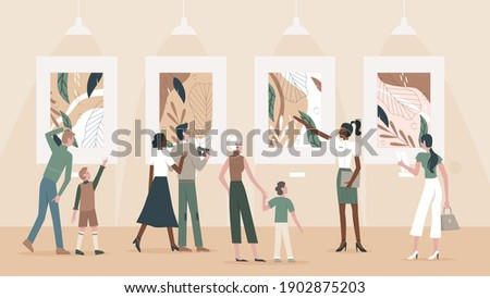 People admire paintings in museum vector illustration. Cartoon group of family tourists visitors and guide character visit public museum exhibition or art gallery, enjoying exhibit artwork background Stock photo ©