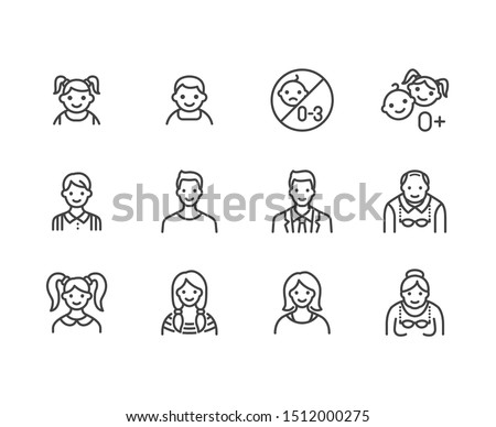 People age flat line icons set. Growth stage - baby boy, teenage girl, young woman, old man vector illustrations. Outline signs for family avatar, toy label. Pixel perfect. Editable Strokes.