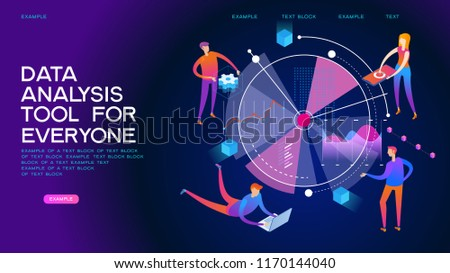 People analyze statistics and graphs. Workflow and business management. 3d vector isometric.