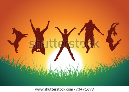 people and a dog jumping in the background of sunset and grass silhouette, vector