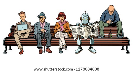 people and a robot sitting on a