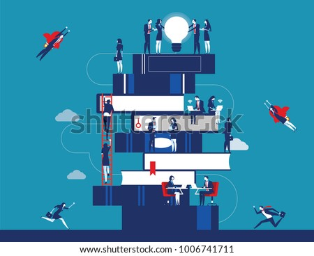People and book. Business person for learning to success. Concept business vector illustration. Flat character design.