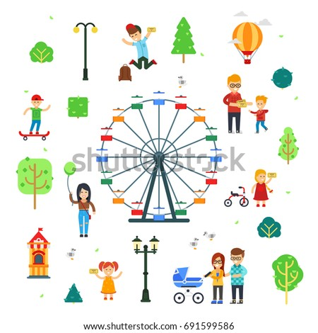 People and children in the amusement park vector flat infographic elements isolated on white background. Walks at the park and doing activities