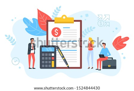 People and clipboard with financial document, calculator and pen. Accounting, business plan, consulting, tax audit, financial management concepts. Modern flat design. Vector illustration