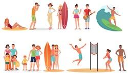 People and couples on vacation beach mega big set. Summer travel holidays and beach active sport activities.