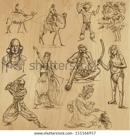 People and customs around the World (set no.6). Collection of hand drawn illustrations (originals, no tracing). Each drawing comprise of two layers of outlines, colored background is isolated.