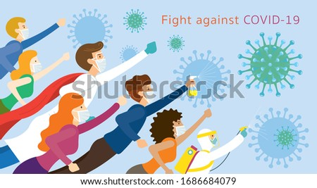 People and Doctor be Superheroes to Fight Against Covid-19, Coronavirus Disease, Health Care and Safety Foto stock ©