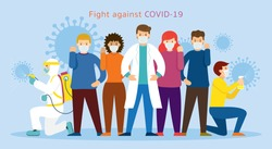 People and Doctor wearing Face Mask Fight Against Covid-19, Coronavirus Disease, Health Care and Safety
