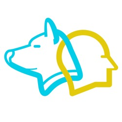 People and dog being in sync or on the same wavelength which is practiced in psychotherapy. Logo vector.