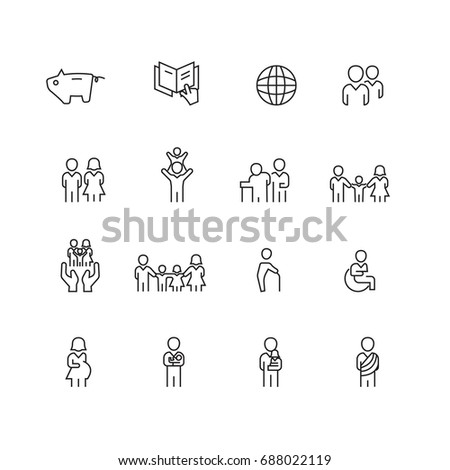 People and Family icons set,Vector
