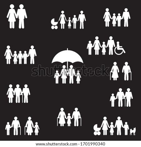 people and family vector icons set