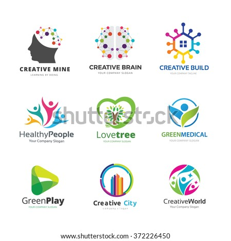 People and Health logo collection, Pictorial marks design with, Human, brain, Creative building, Ecology, Family and green symbol.
