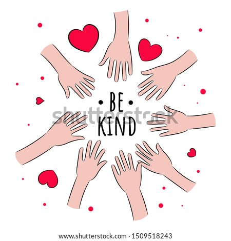 People and hearts. An allegorical depiction of kindness.  Kindness. Be kind. Illustration on white background.