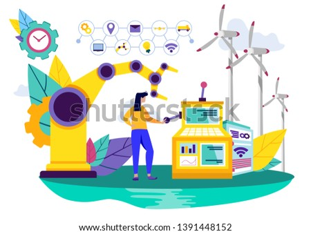 People and Industrial Machine. Industrial Enterprise Operation System. People and Industrial Machine. Teamwork. Working Process. Automation and Technology. Vector Illustration. Smart Idustry.